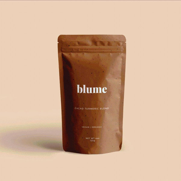 Blume - Cacao Turmeric Blend Destress, unwind and head straight to relaxation island. Turmeric soothes your body, and ashwagandha calms your mind. Formulated to reduce stress, give your skin a natural glow and ease digestion.