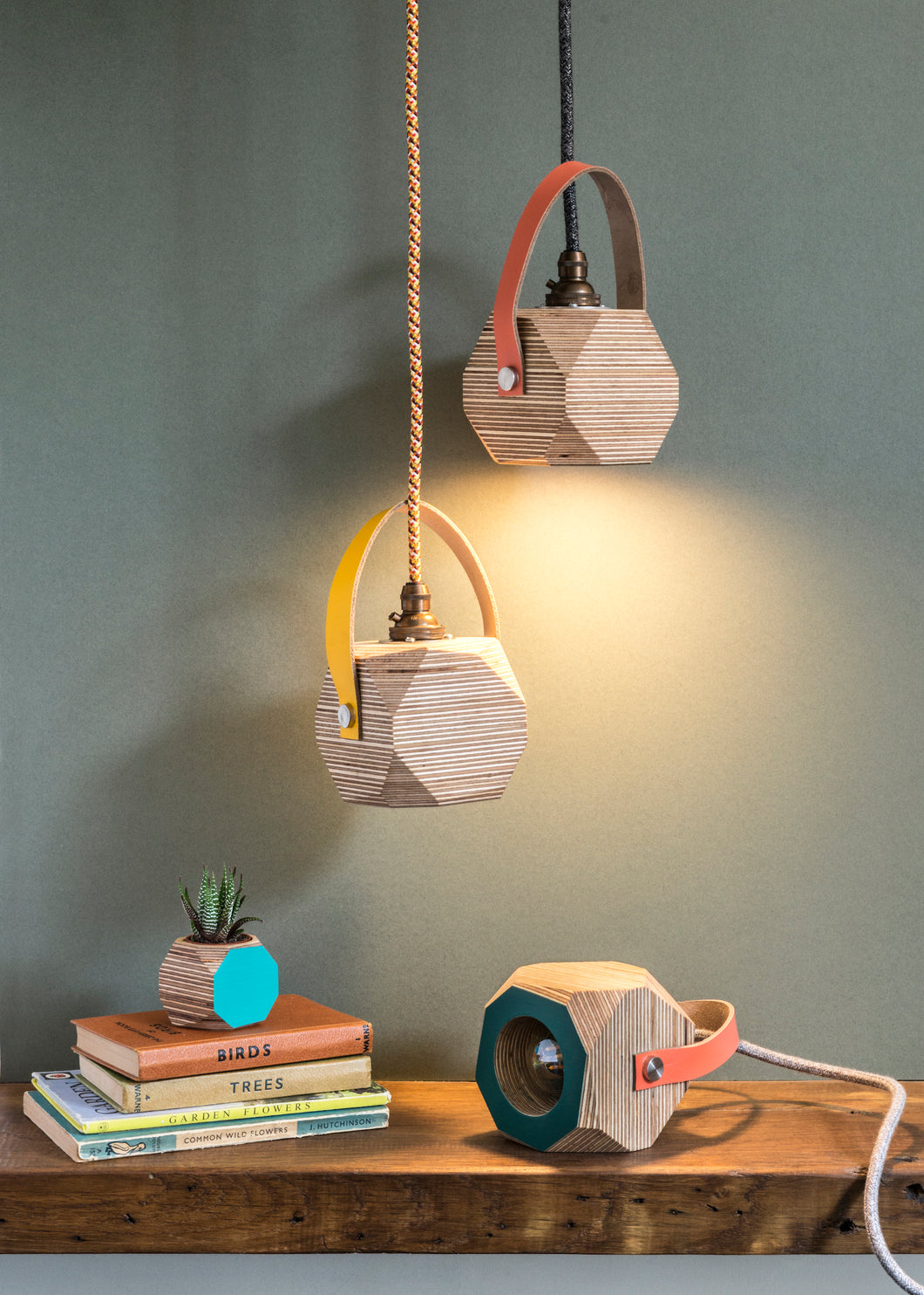 Geo Pendant Light with Bright Pink Cord and Yellow Strap