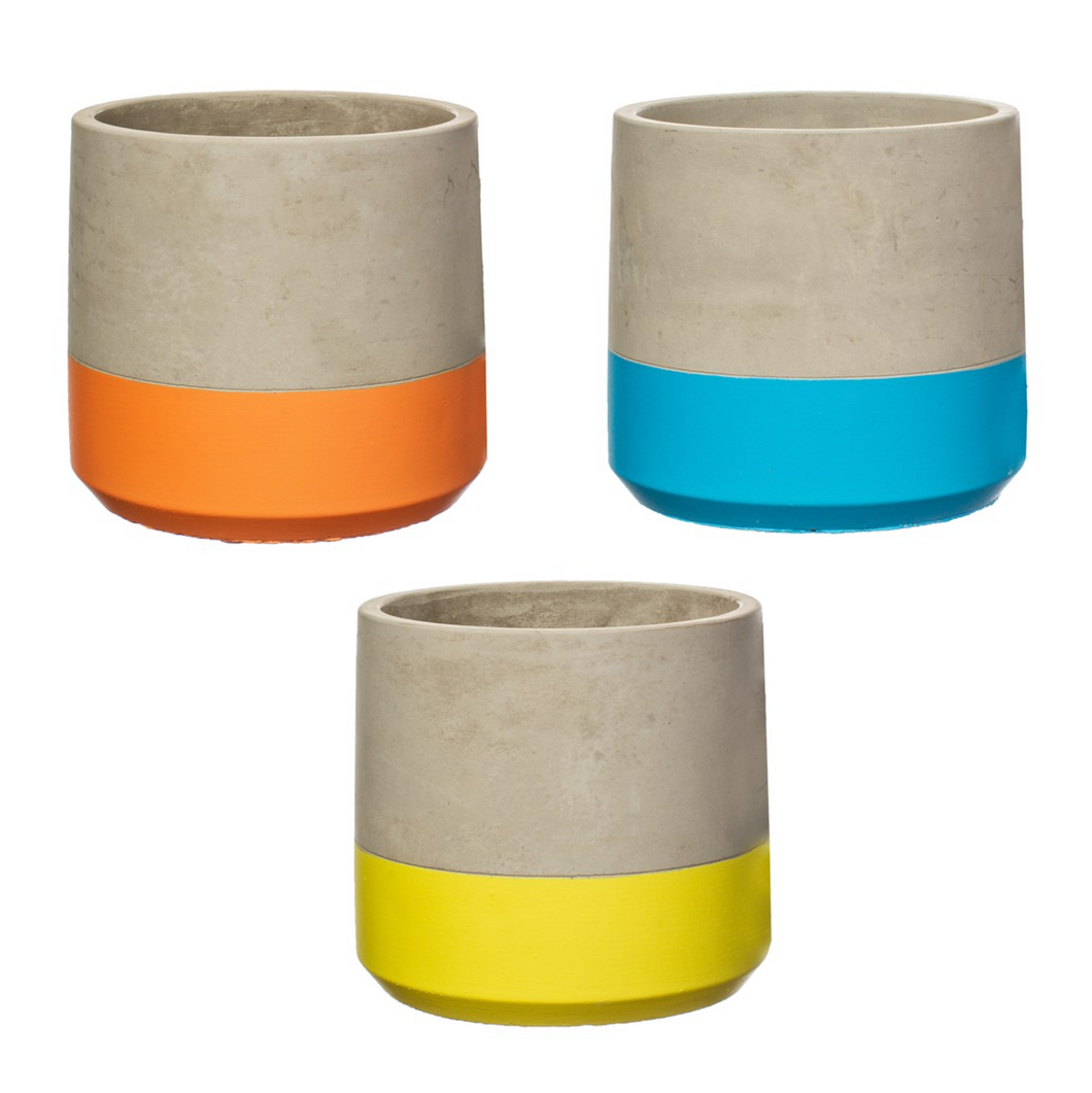 Bright Colour Block Cement Planter - Large
