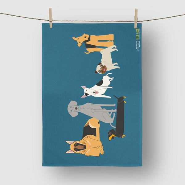Dog Blue Tea Towel