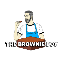 The Brownie Boy. Boy eating gooey chocolate brownie. Chocolate fudge. Gooey. Fudgey.