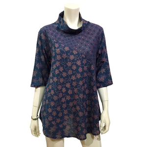Stylish Blue Floral Print Top