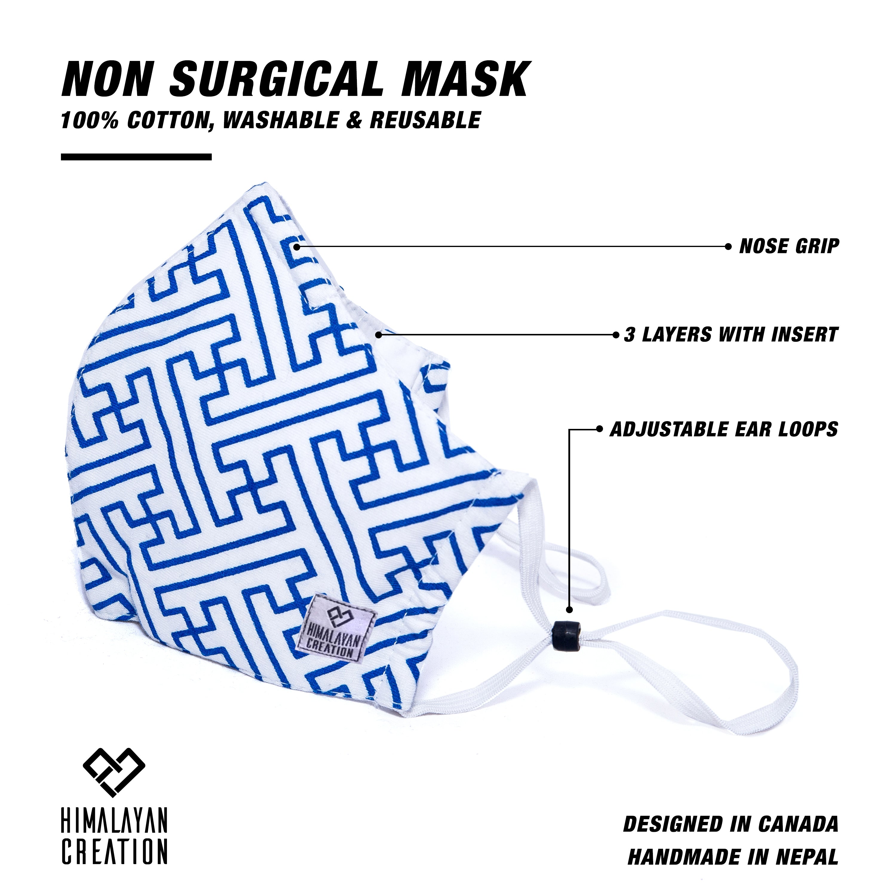 Sayagata Pattern Cotton Mask