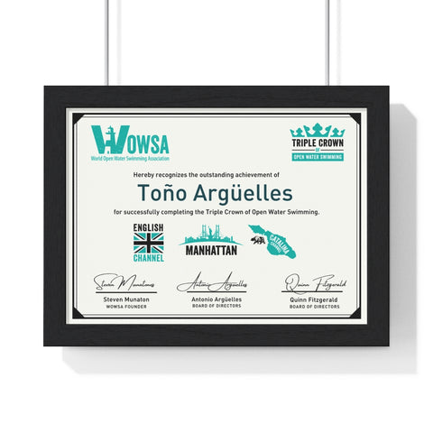 Triple Crown Framed Certificate