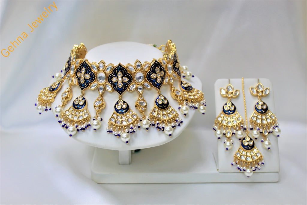 Meera Choker Set Navy Blue