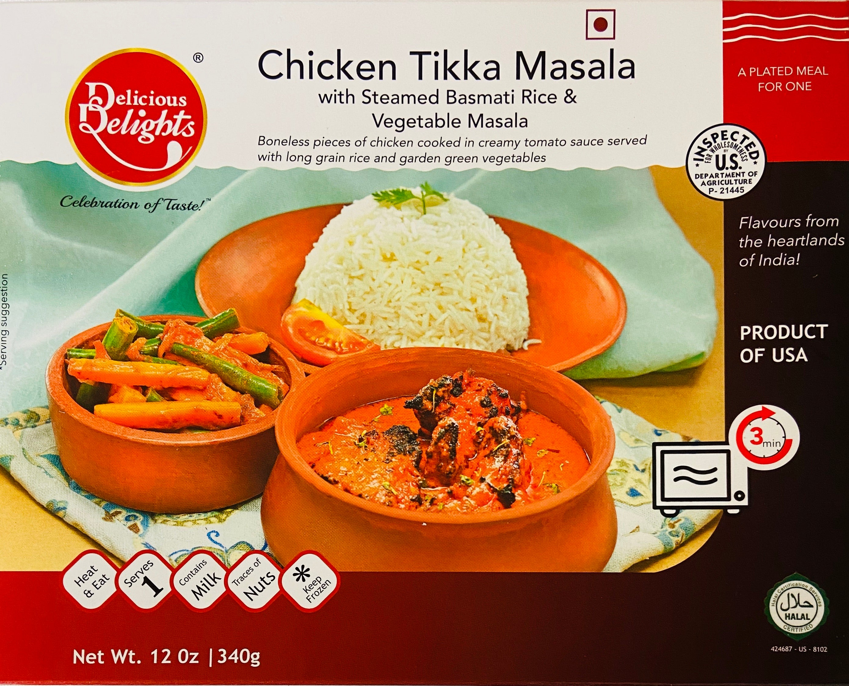 Chicken Tilkka Masala with Steamed Basmathi Rice & Vegetable. Combination Plater (Frozen)