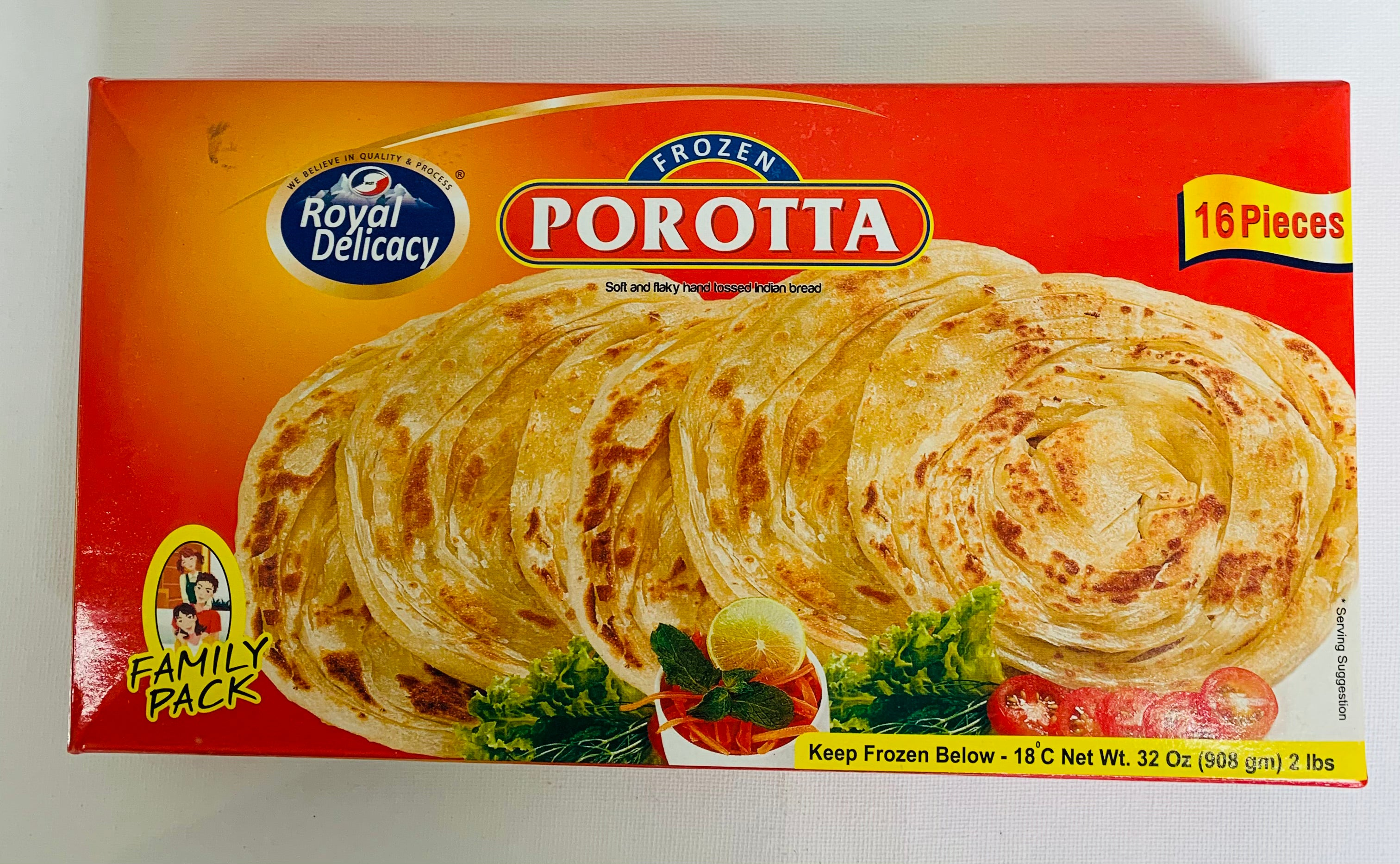 Royal Delicacy Porotta Family Pack (Frozen Bread - 16 Pieces)