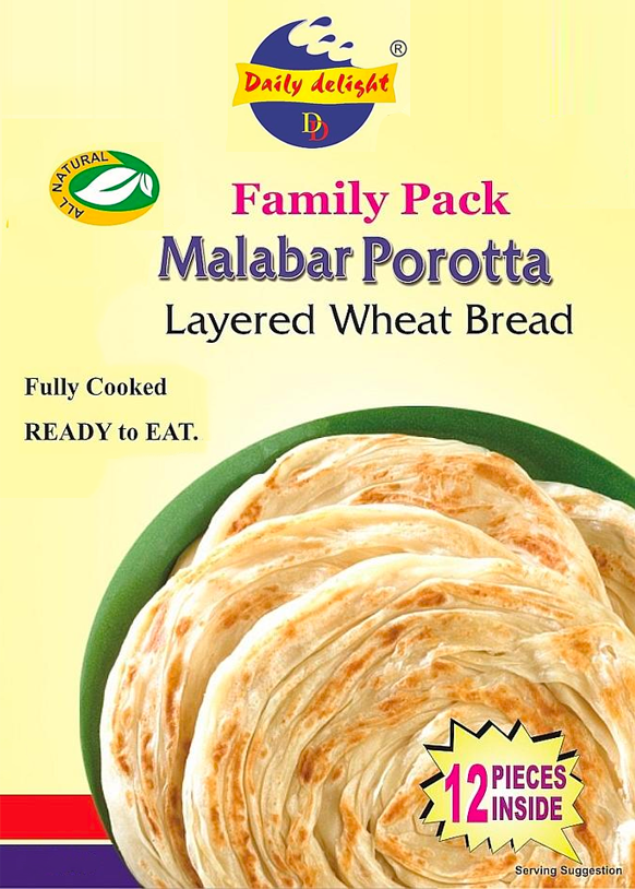 Malabar Porotta Family Pack (Frozen Bread - 12 Pieces)
