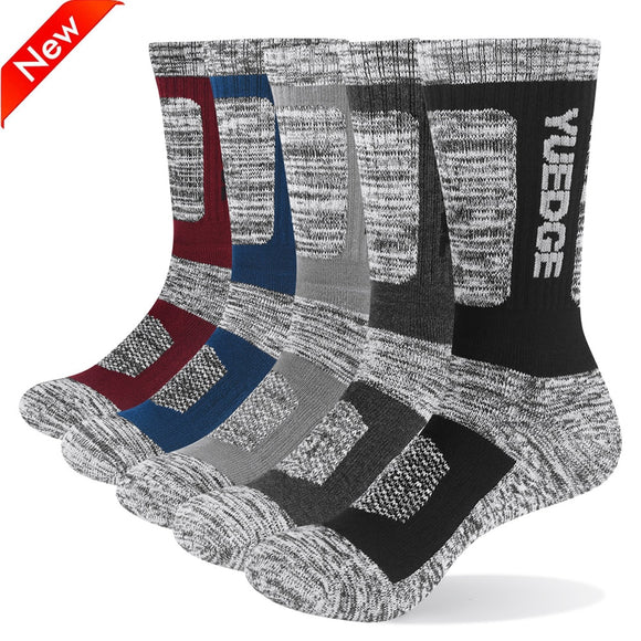 YUEDGE Men Socks Breathable Comfortable Cotton Cushion Crew Sports Hiking Trekking Socks 5 Pairs 38-45 EU