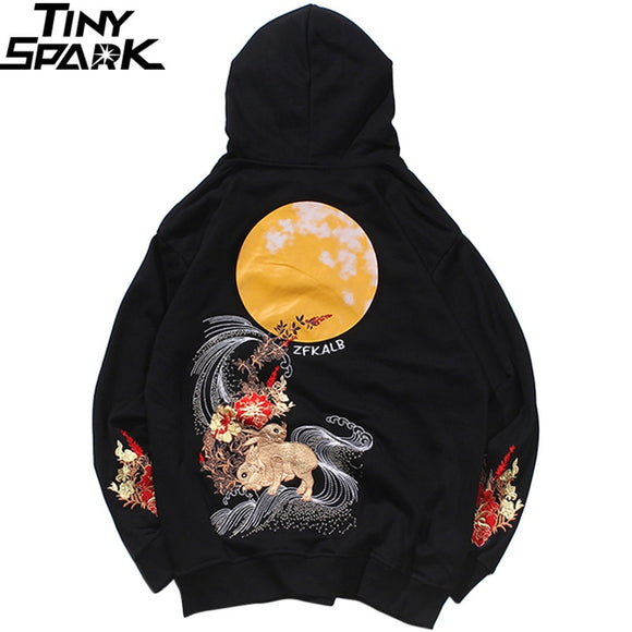 2019 Men Hip Hop Hoodie Sweatshirt Embroidered Floral Full Moon Rabbit Harajuku Streetwear Hoodie Pullover Cotton Autumn Hipster