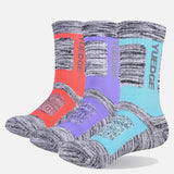 YUEDGE Brand Women's Wicking Cushion Combed Cotton Crew Socks Sport Trekking Hiking Socks(3 Pairs/Pack)