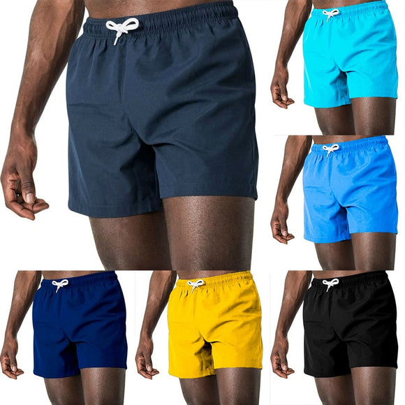 Men's solid color beach shorts swimming trunks 2020 fashion shorts