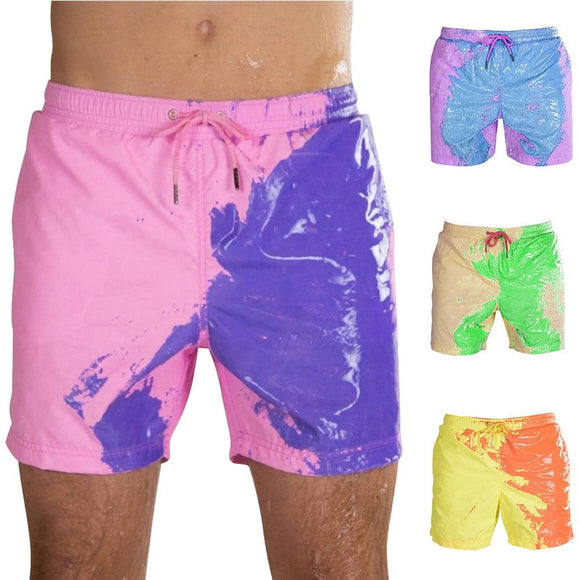 Magical Change Color Beach Shorts Summer Men Swimming Trunks Swimwear Swimsuit Color Changing Beach Shorts Quick Dry Shorts
