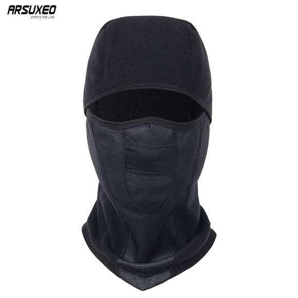 ARSUXEO Winter Fleece Cycling Cap Warm Windproof Cycling Full Face Mask MTB Bike Bicycle Caps Ski Face Mask For Men Women M1