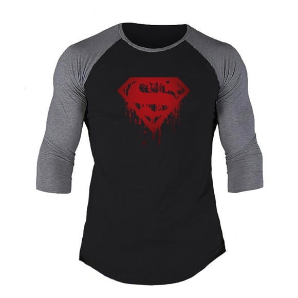 MACHINEFITNESS Spring Mens T-shirts 3/4 Sleeve Patchwork T Shirt Casual O-Neck Gym Tshirt Elastic Hip Hop Tops Plus Size