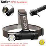 Sofirn SP40 LED Headlamp Cree XPL 1200lm 18650 USB Rechargeable Headlight 18350 Flashlight with Power Indicator Magnet Tail