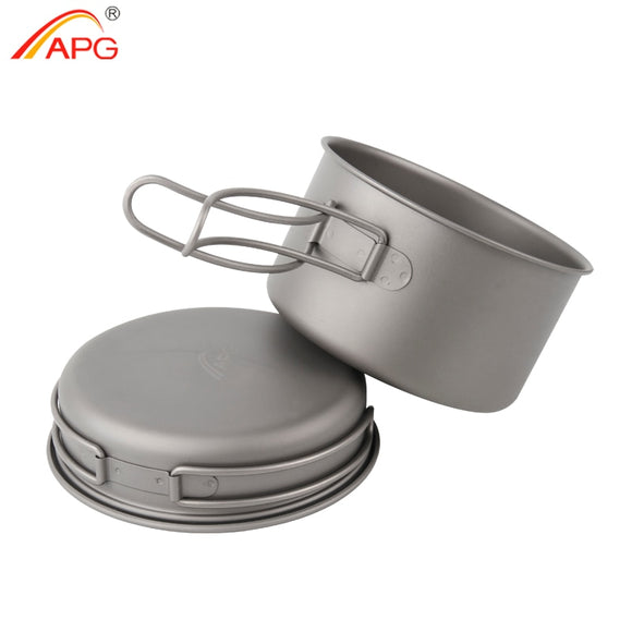 APG Ultralight Titanium Pan Outdoor Camping Titanium Bowl Set Folding Handle Cookware