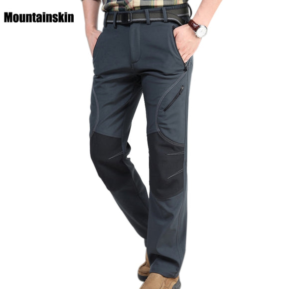 Men's Winter Softshell Fleece Pants Outdoor Sports Waterproof Thick Hiking Pants