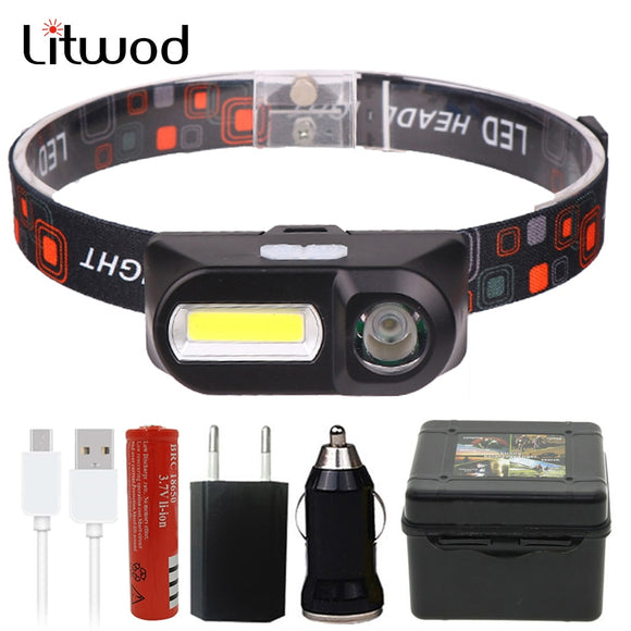 Mini COB LED Headlight Headlamp Head Lamp Flashlight USB Rechargeable 18650 Torch Night running headlights Light