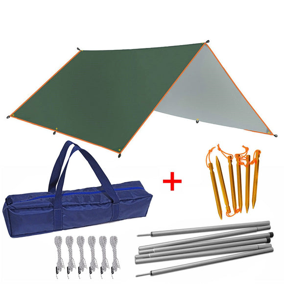 4x3m 3x3m Tent Tarp With Support Rope Peg Pole Waterproof Awning Shade Garden Sunshade Outdoor Camping Sun Shelter Beach Hammoc