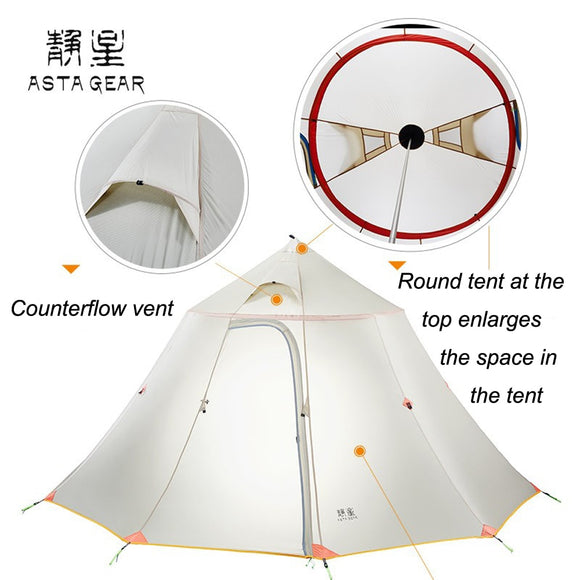 Asta Gear Mountain House Large Space Team activity and Ultrlight tent for six Persons camping pyramid tent without trekking pole