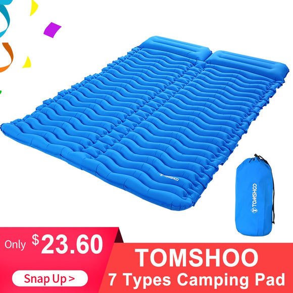 TOMSHOO Double Sleeping Pad 2 Person Ultra-light Portable Mattress Inflatable Mat Camping Mat Bed Outdoor With Pillow