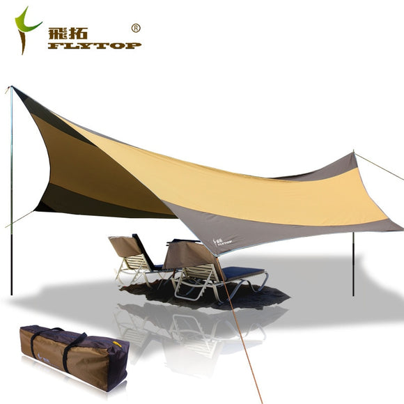 Flytop High quality 550cm*560cm iron poles UV beach tent sun shelter camping tent awning tarp with silver coated oxford fabric