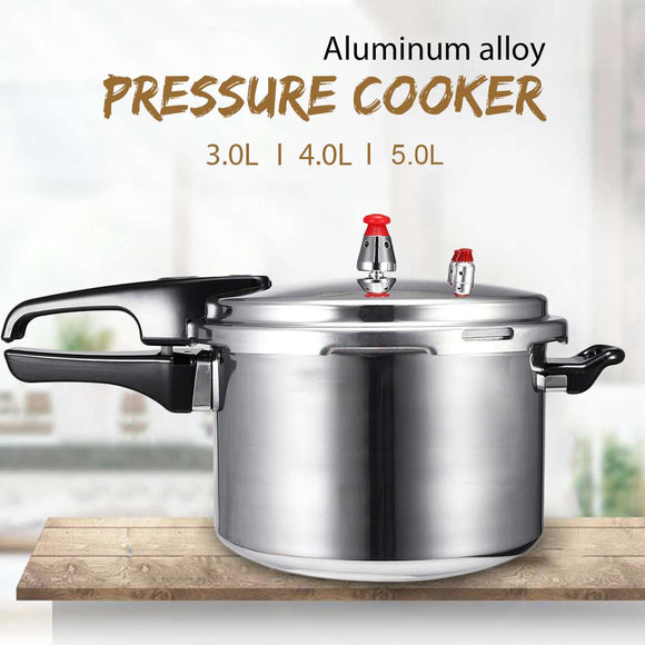 3/4/5L Aluminium Alloy Kitchen Pressure Cooker Gas Stove Cooking Energy-saving Safety Protection Outdoor Camping Cookware