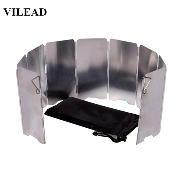 VILEAD 9 Plate Foldable Aluminum Outdoor Stove Wind Shield Gas Burner Windshield Wind Protector Picnic Camping Stove Windscreen