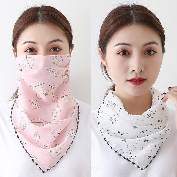 Chiffon Face Mask Women Sun Protection Scarves Neck Cover Solid Print Lady Hiking Riding Mouth Scarf Ring Wraps 2020 New