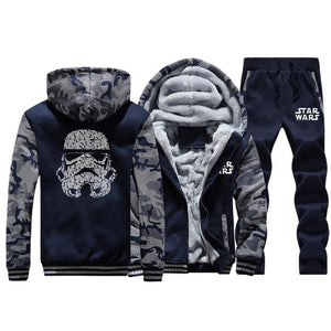 Fashion Star Wars Yoda/Darth Vader Fleece Streetwear Hoodies Pants 2pcs Sets Men Casual Masks Words Camo Sportswear Streetwear