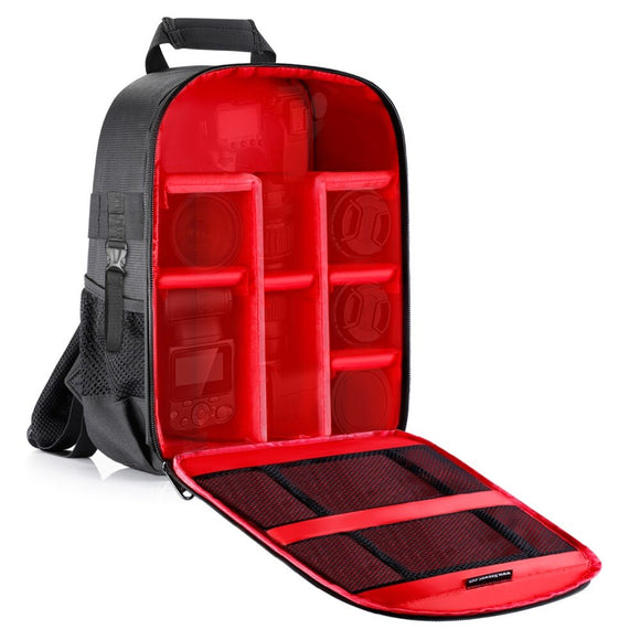 Neewer Camera Case Backpack Waterproof Shockproof 12.2x5.5x14.6inches Bag(Red Interior)+Lens Brush+Microfiber Cleaning Cloth Kit