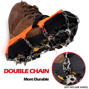 1 Pair 13 Teeth Ice Snow Grips Crampon Winter Hiking Climbing Shoes Cleats Chain Shoe Cover