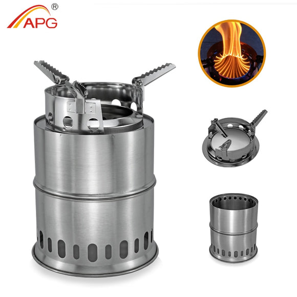 APG Large Size Camping Wood Stove Split Portable Gas Stainless Steel Gas Firewood Burners Backpacking Furnace