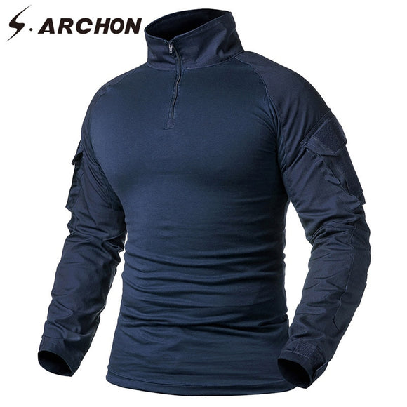 S.ARCHON Military Tactical Long Sleeve T Shirt Men Navy Blue Solid Camouflage Army Combat Shirt Airsoft Paintball Clothes Shirt