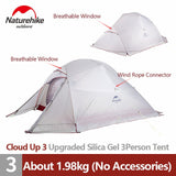 Naturehike tent Upgrade Cloud Up 1 2 3 Persons Camping Tent Outdoor 20D Silicone Ultralight Tent With Free Mat NH17T001-T