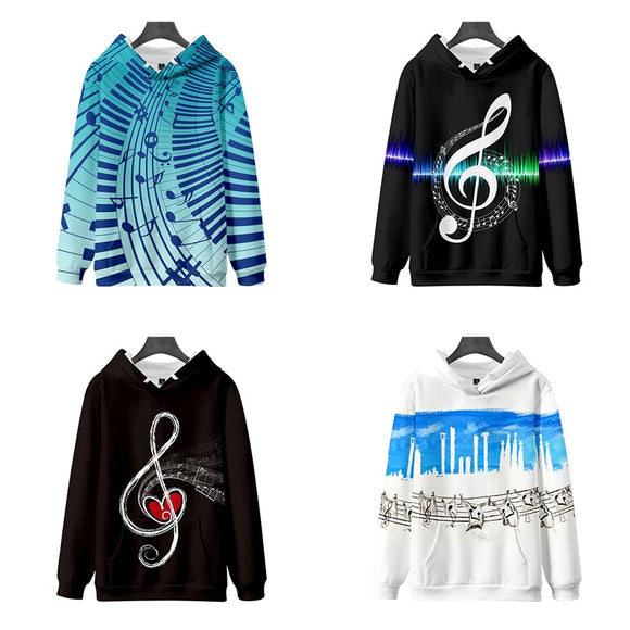 New Fashion Hip Hop Print Music Note 3d Hoodies Pullover