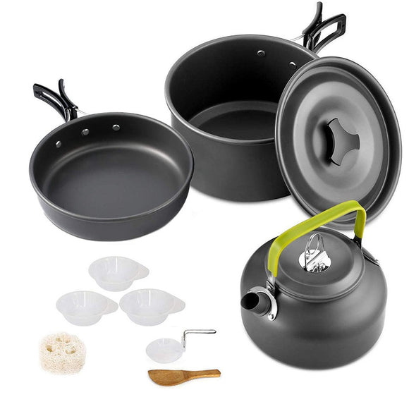 Camping Cookware Set Aluminum Nonstick Portable Outdoor Tableware  Kettle Pot Cookset Cooking Pan Bowl for Hiking BBQ Picnic