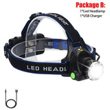 ZK20 LED Headlamp Rechargeable Head Lamp Zoom Waterproof Headlight Flashlight Three Light Switch Modes USB Charging Camping