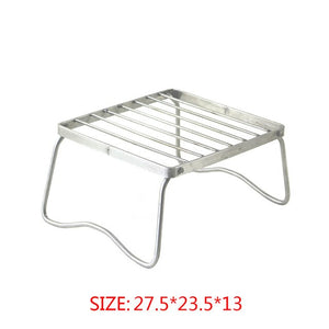 Portable Folding Camping Grilling Stand Stainless Steel Campfire Charcoal BBQ Grill Rack for Outdoor Barbeque Camping Tool