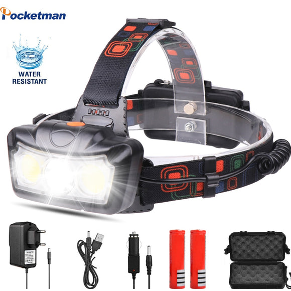 Super Bright LED Headlamp T6+COB LED Headlight Head Lamp Flashlight Torch Lanterna head light Use 2*18650 battery for Camping