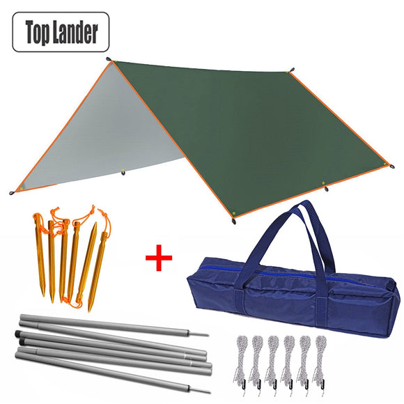 4x3m 3x3m Awning With Support Pole Rope Peg Waterproof Tarp Tent Shade Garden Sunshade Outdoor Camping Sun Shelter Beach Hammock