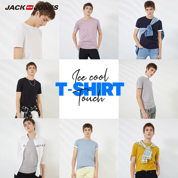 JackJones Men's Cotton T-shirt Solid Color Ice Cool Touch Fabric