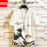 Funny Anime Print Oversized Men T Shirt Hip-Hop Cotton T-shirt O-neck