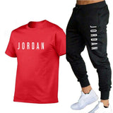 Summer new fashion trend men's suit personalized fashion printing sports short-sleeved T-shirt + sports casual trousers suit