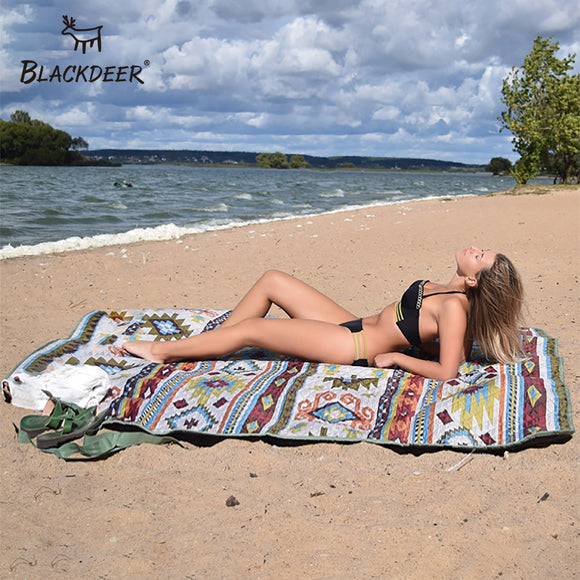 BLACKDEER Camping Mat For Family Nation Style Printed Thicken Waterproof Picnic Beach Mat Child Play Spring Machine Washable