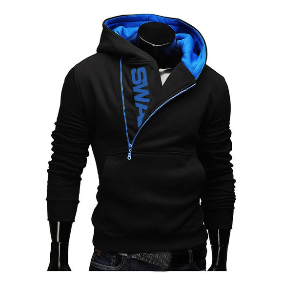 Hoodies Laamei Men Fashion Oblique Zipper Patchwork Tracksuit Sweatshir