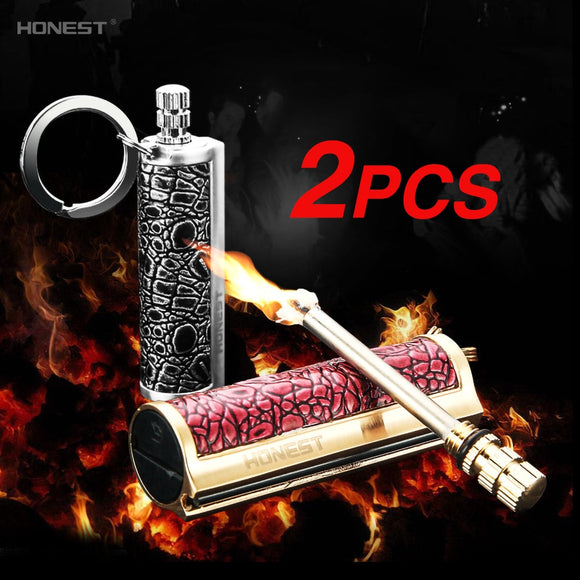 2PCS Luxury Metal Durable Waterproof Matches Flint Stone Key Ring Instant Emergency Fire Starter Safety Matchstick