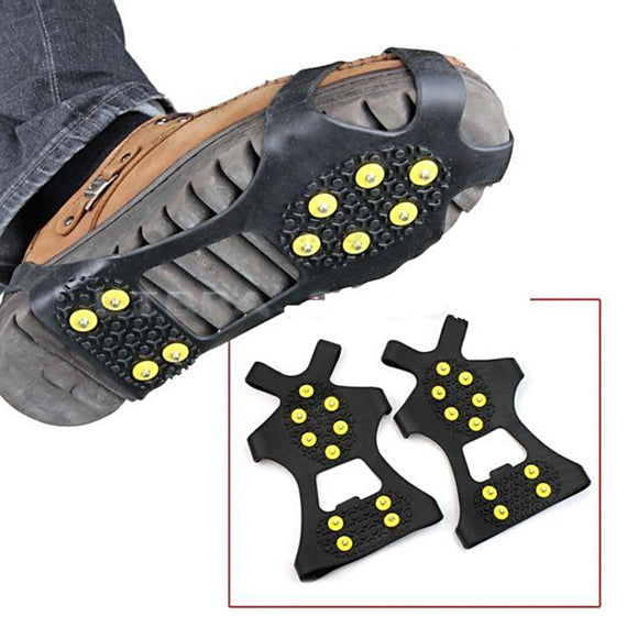 10Stud S M L Non Slip Snow Shoe Spikes Winter Anti Slip Ice Grips Cleats Crampons Climbing Outdoor Shoes Cover Crampons #734