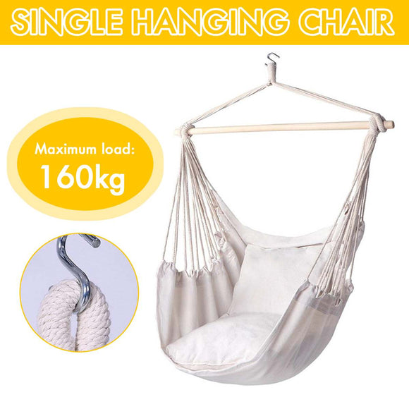 160kg Hammock Garden Hang Lazy Chair Swinging Indoor Outdoor Furniture Hanging Rope Chair Swing Chair Seat bed Travel Camping